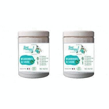 Bicarbonate de soude - pot de 1 Kg - Production Bio - Qualité supérieur - 100% naturel - Produit 100% Français