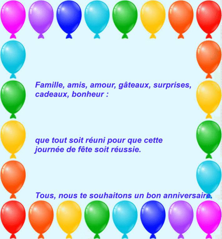 modele carte texte gratuit bon anniversaire