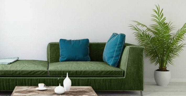canapé-vert-émeraude-sur-mur-gris-pâle-et-parquet-gris-clair