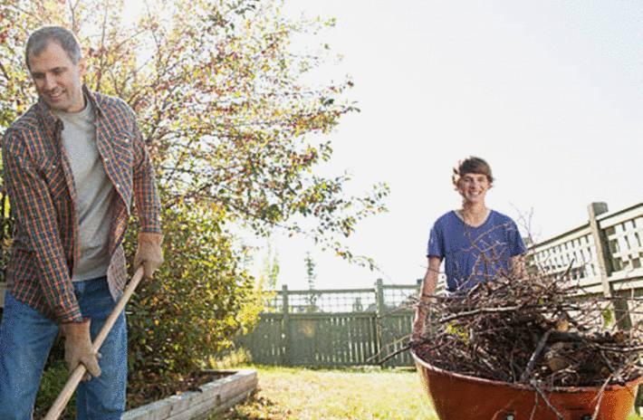 garçon-poussant-une-brouette-de-branchages-ramassés-dans-le-jardin-avec-son-père-ratissant