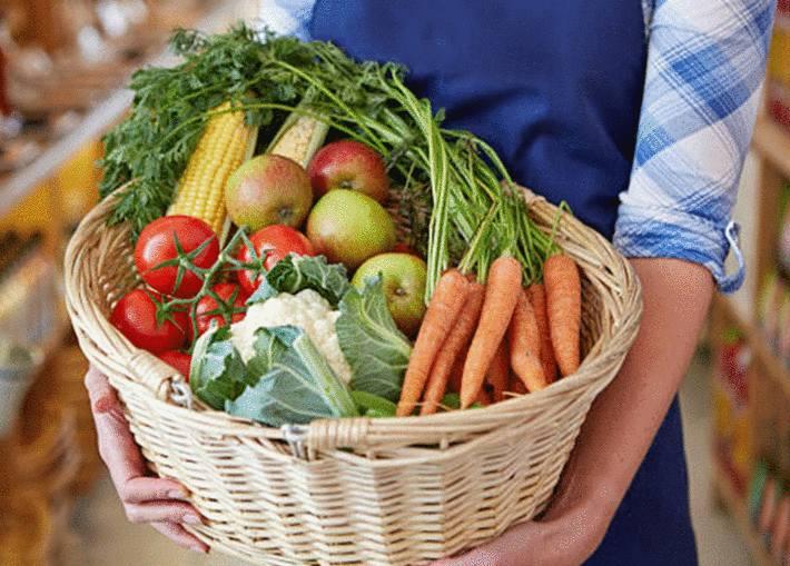 un panier de légume et de fruits pour maigrir du ventre