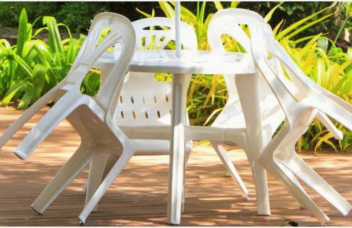 GM-Milte Table de jardin Table bistro en marbre Blanc, Pied en fonte ...